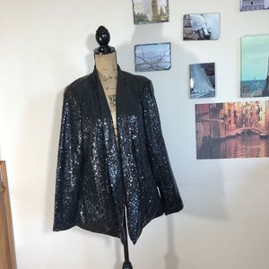 Just Fab sparkly sequin open front blazer, Sz. 1X